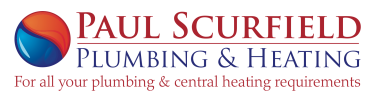 Logo of Paul Scurfield Plumbing & Heating with the slogan for all your plumbing and central heating requirements.