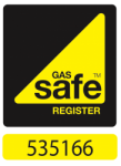 Image of the Gas Safe logo with my Gas Safe number, 535166 beneath it