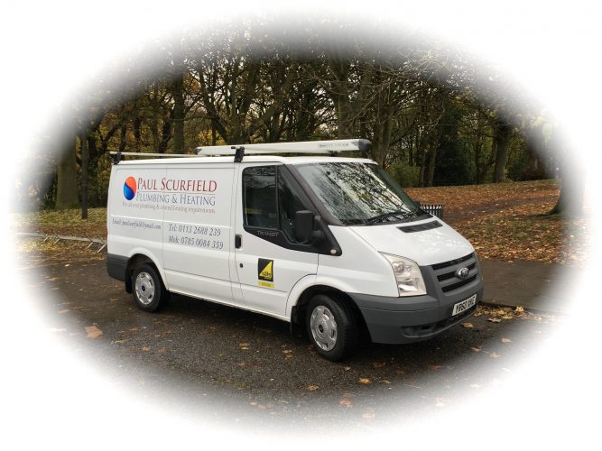 A picture of the Paul Scurfield Plumbing and Heating van in Leeds.