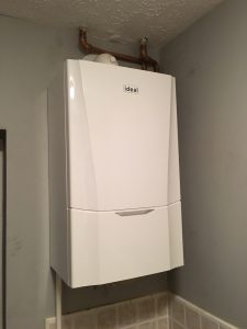 Picture shows an Ideal Vogue boiler. Boiler installation in Leeds by Paul Scurfield Plumbing and Heating