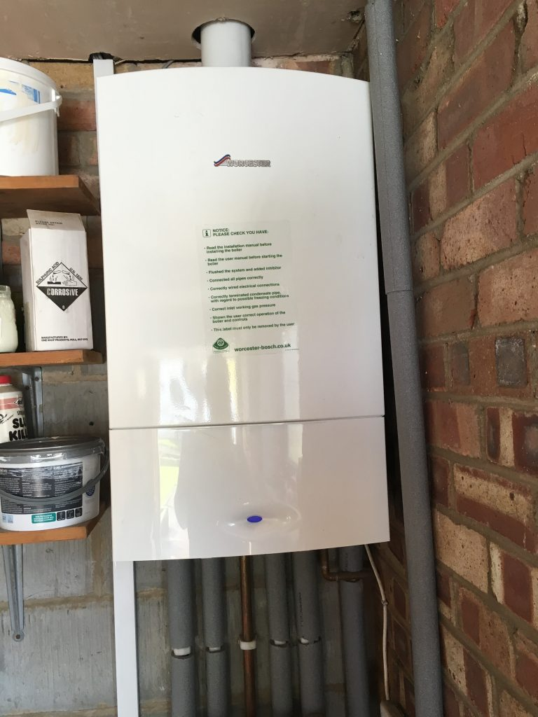 The picture shows a new boiler in Leeds installed by Paul Scurfield Plumbing and Heating